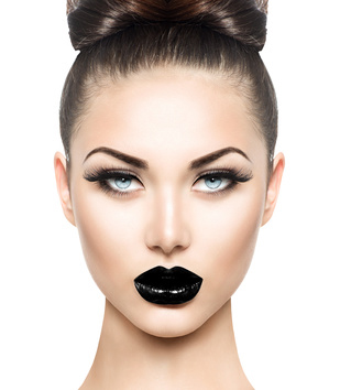 High fashion beauty model girl with black make up and long lushe